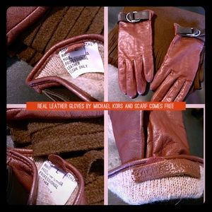 MICHAEL KORS LEATHER GLOVES with free scarf